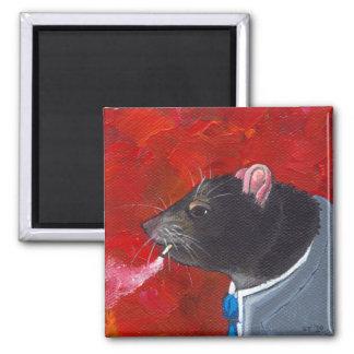 Rodney la rata - traje de negocios que fuma arte ú imán cuadrado