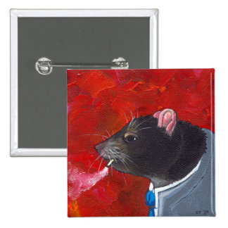 Rodney la rata - traje de negocios que fuma arte ú pin cuadrada 5 cm