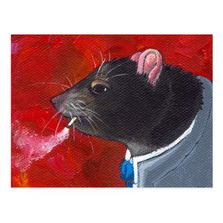 Rodney the Rat - business suit smoking unique art Postcards