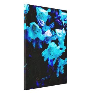 Rododendros en flores azules, florales, azules lienzo envuelto para galerias