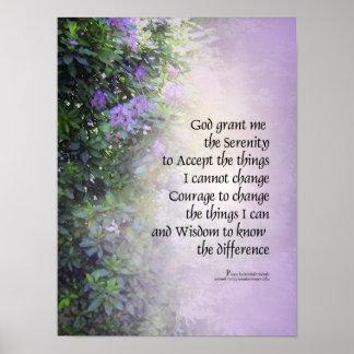 Rododendros y cala del rezo de la serenidad posters