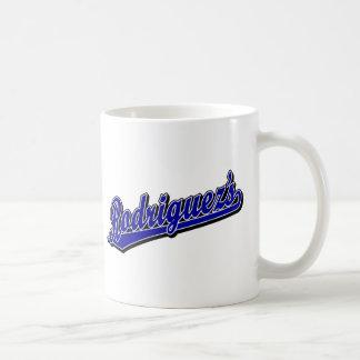 Rodriguez en azul taza básica blanca