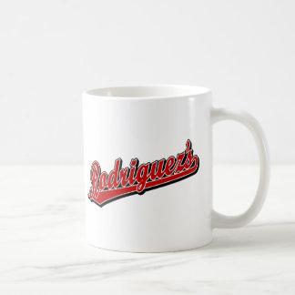 Rodriguez en rojo taza básica blanca