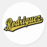 Rodriguez in Gold Round Stickers
