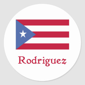 Rodriguez Puerto Rican Flag Classic Round Sticker