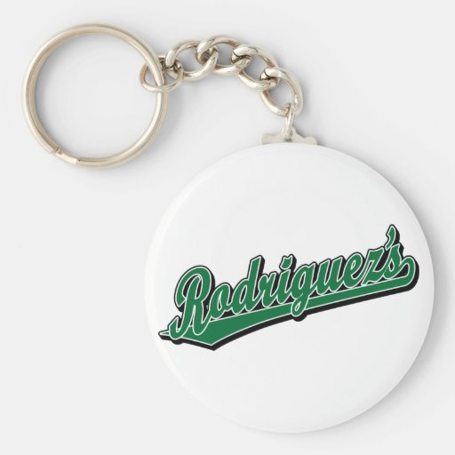 Rodriguez's in Green Basic Round Button Keychain
