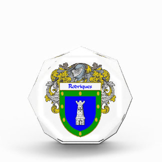 Rodriques Coat of Arms Family Crest Acrylic Award