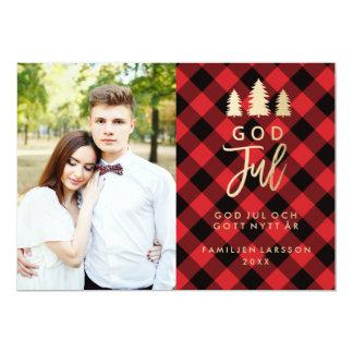 Rödrutig God Jul | Julkort Card