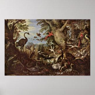Roelant Savery - pájaros en un paisaje Póster
