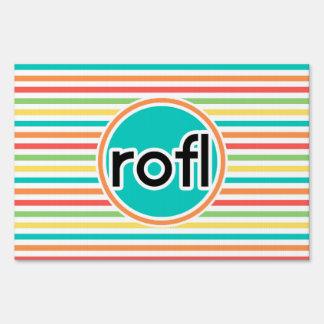 rofl, Bright Rainbow Stripes Sign