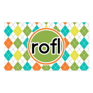 rofl; Colorful Argyle Pattern Business Card