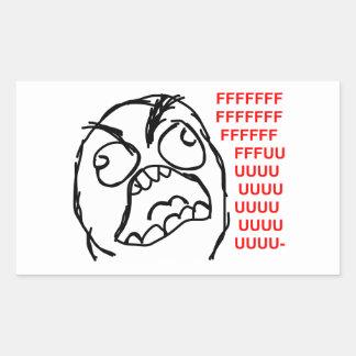 rofl cómico del lol del meme de la rabia de la pegatina rectangular