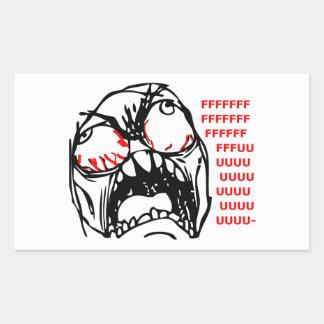 rofl estupendo del meme de la cara de la rabia pegatina rectangular