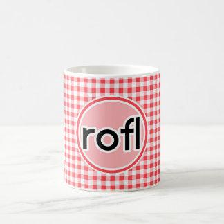 rofl; Guinga roja y blanca Tazas De Café