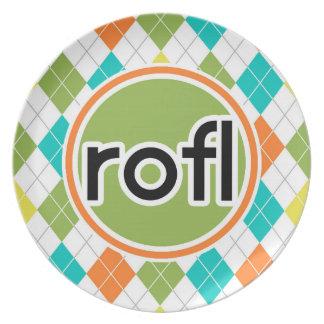 rofl; Modelo colorido de Argyle Platos De Comidas