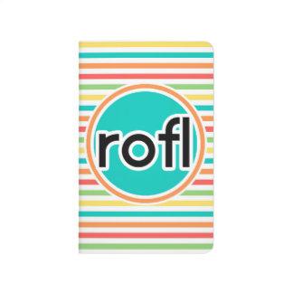 rofl, rayas brillantes del arco iris cuadernos grapados