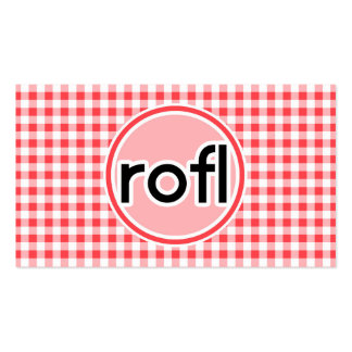 rofl; Red and White Gingham Business Card