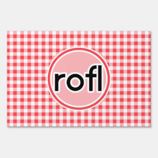 rofl; Red and White Gingham Lawn Signs