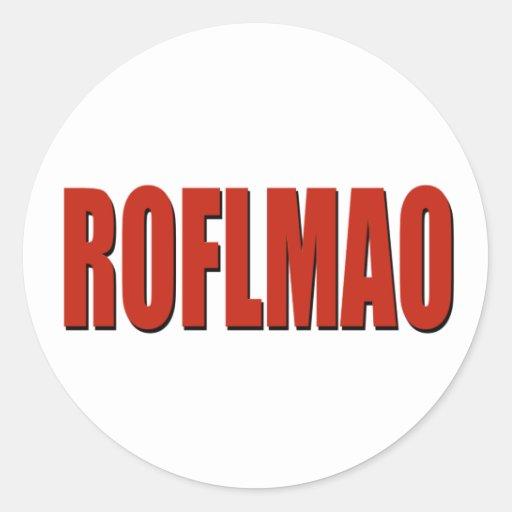 ROFLMAO RED ROUND STICKERS