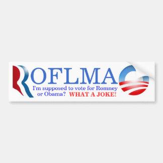 ROFLMAO - ¿Voto Romney u Obama Pegatina De Parachoque