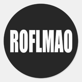 ROFLMAO white on black Classic Round Sticker