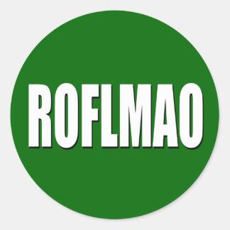 ROFLMAO white on green Classic Round Sticker