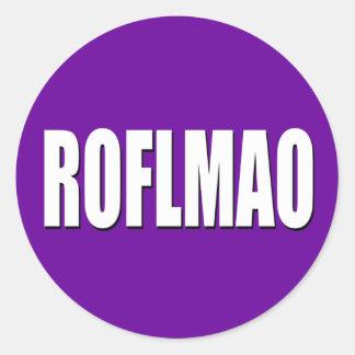 ROFLMAO white on purple Classic Round Sticker