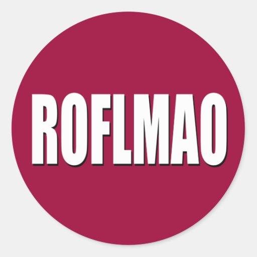 ROFLMAO white on red Classic Round Sticker