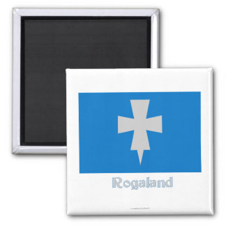 Rogaland flag with name 2 inch square magnet