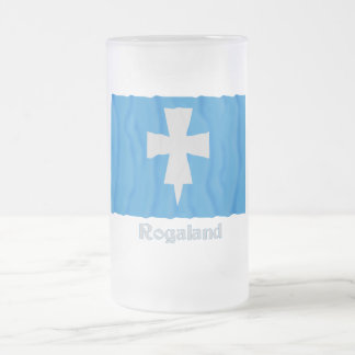 Rogaland waving flag with name 16 oz frosted glass beer mug