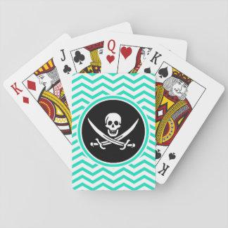 Rogelio alegre Aguamarina Chevron verde Cartas De Póquer