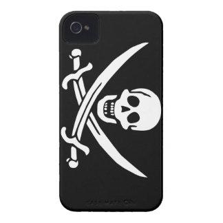 Rogelio alegre del calicó Jack Rackham (NEGRO) Funda Para iPhone 4 De Case-Mate