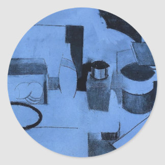 Roger Fresnaye-StillLife,Tin of Tea,Pot of Tobacco Round Stickers