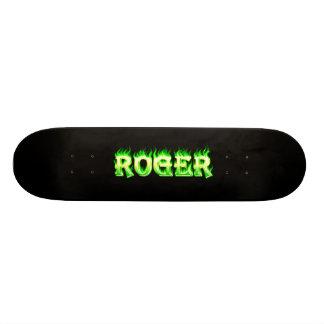 Roger skateboard green fire and flames design