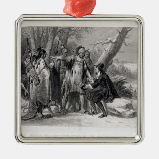 Roger Williams sheltered by the Narragansetts Metal Ornament