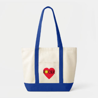 ROGER with Heart and Tennis Ball Canvas Bag