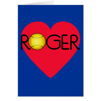 ROGER with Heart and Tennis Ball Greeting Card