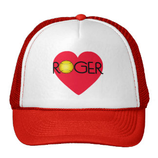 ROGER with Heart and Tennis Ball Trucker Hat