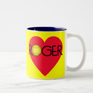 ROGER with Heart and Tennis Ball Two-Tone Coffee Mug