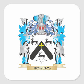 Rogers Coat of Arms - Family Crest Square Stickers