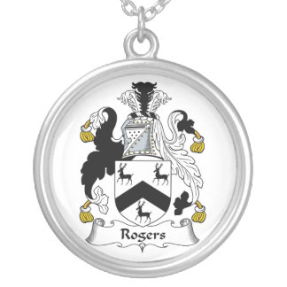 Rogers Family Crest Round Pendant Necklace