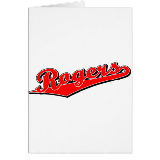 Rogers script logo in red card