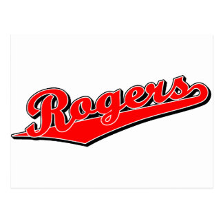 Rogers script logo in red postcard
