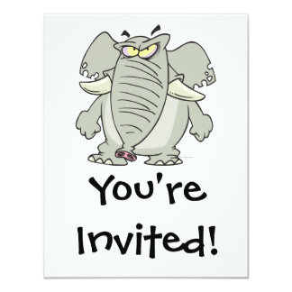 rogue mad angry elephant cartoon 4.25x5.5 paper invitation card