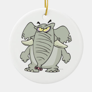 rogue mad angry elephant cartoon Double-Sided ceramic round christmas ornament
