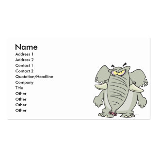 rogue mad angry elephant cartoon Double-Sided standard business cards (Pack of 100)