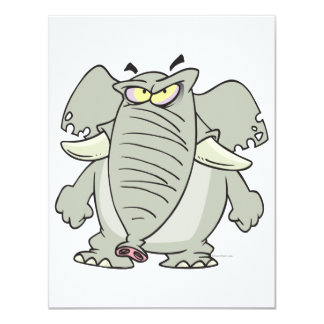 rogue mad angry elephant cartoon announcement