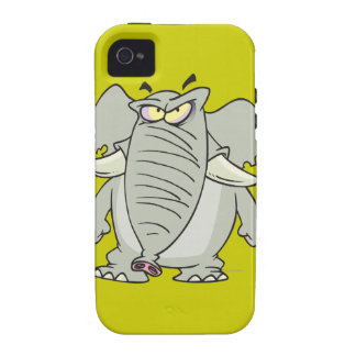 rogue mad angry elephant cartoon iPhone 4 case