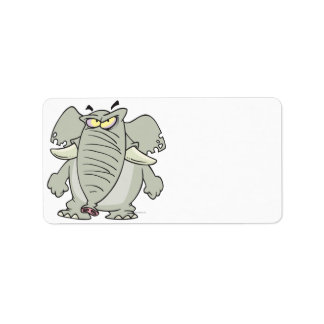 rogue mad angry elephant cartoon address label