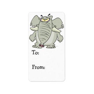 rogue mad angry elephant cartoon custom address label